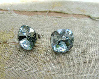 Swarovski Square Cushion Cut Stud Earrings by Courtney Lee Designs-Priscilla Collection-Sterling Silver and Light Azore