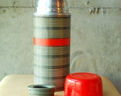 Vintage Plaid Thermos Red and Grey Aladdin Brand Vacuum Bottle