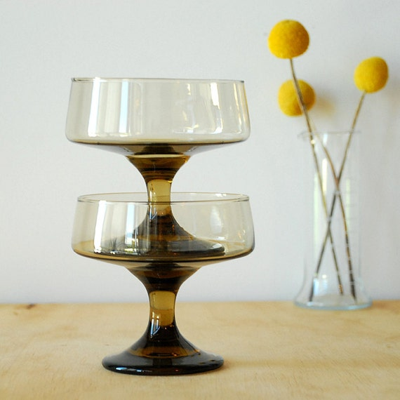 Smoked Glass Coupes - Champagne Coupe - Dessert Glass Tawny Brown
