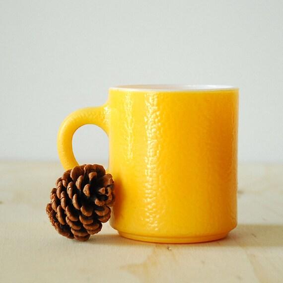 Yellow Fire King Mug - Anchor Hocking Milk Glass Mug
