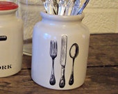 Vintage French Mustard Crock Silverware French Mustard Jar Knife Fork Spoon Crock