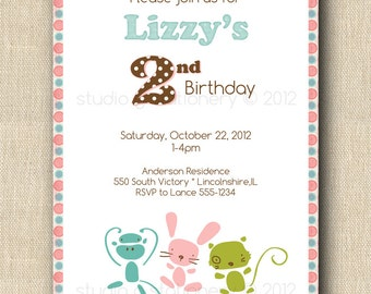 Sock Monkey & Friends Invitation- 12 printed invitations with envelope