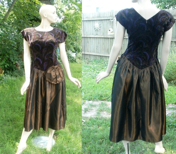 80's Prom Dress by Donna Morgan with Paisley Bodice in Rich Colors and Bronze Skirt Estimated Size 10