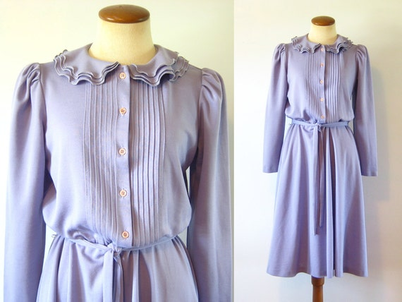 RESERVED  1970s Dress Boho Lavender Day Ruffled Collar Pintuck Bodice Fitted Waist Flared Skirt Midi Long Sleeve Vintage 70s  Medium