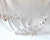 Large Crystal Bowl, Nautilus Shaped Crystal, Vintage Wedding Crystal