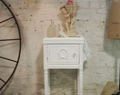 Painted Cottage Chic Shabby White French Night Table NT436