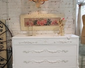 RESERVED for KRISTEN Painted Cottage Chic Shabby White Vintage French Dresser CH419