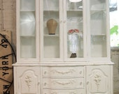 RESERVEMichellePainted Cottage Chic Shabby White French China Cabinet CC371