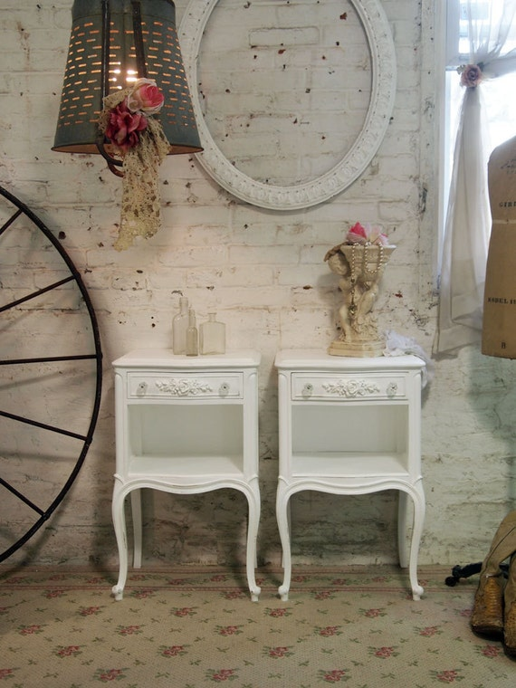 Painted Cottage Shabby White Pair of  Romantic French Night Table NT434