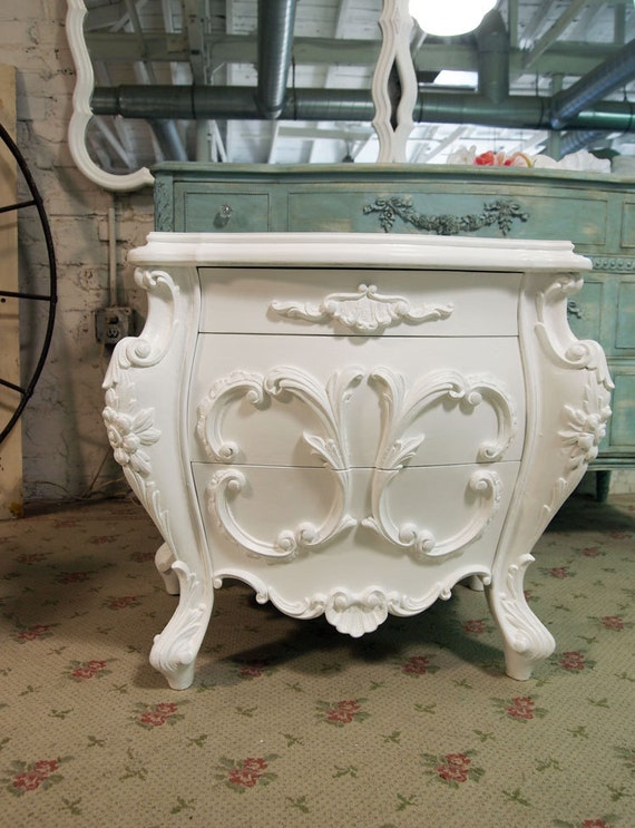 Painted Cottage Chic Shabby Romantic Night Table NT428