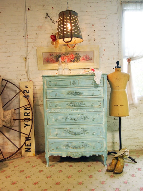Painted Cottage Chic Shabby Aqua Dresser French Dresser CH366