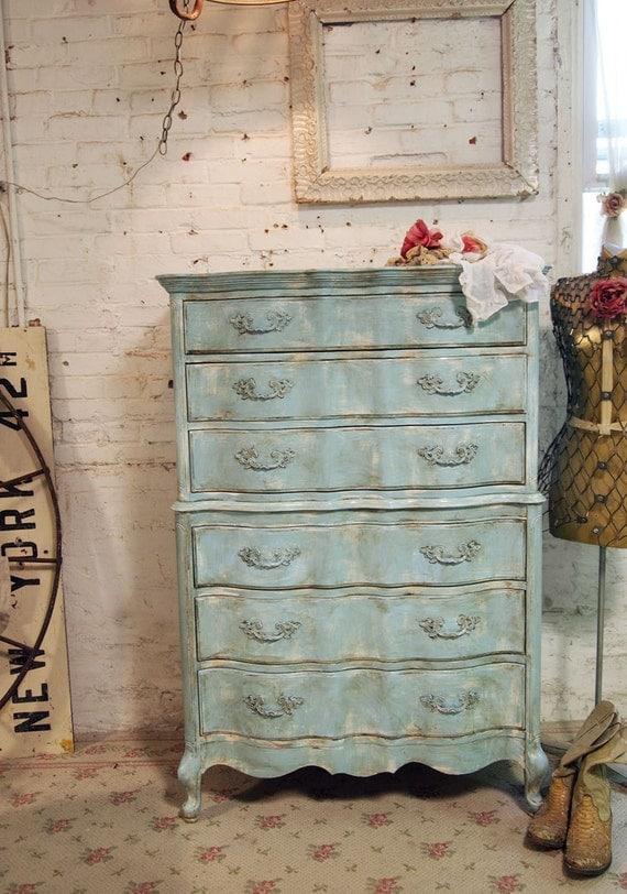 Painted Cottage Chic Shabby Aqua Romantic Dresser CH327