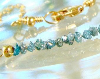 Diamond Bracelet, Raw Blue Diamond Bracelet, Gold Bracelet, Natural Rough Diamonds, Uncut,  Modern, Delicate, Custom, 1.5 Inch Row Diamonds