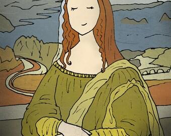 Cute Mona Lisa art illustration- 8x10 print