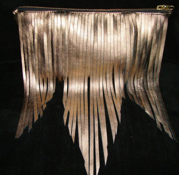 Sale: Boho leather fringe bag -Oversize, Copper leather clutch (Last one in this leather)