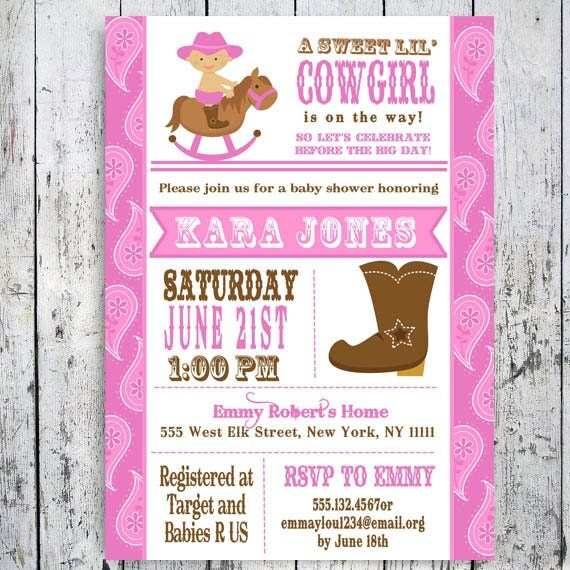39 cowgirl baby shower invitation custom printable pink girl baby