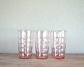 set of 6 wavy pink juice glasses