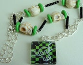 Green and Black Emo Necklace Scene Emo Jewelry Rockabilly Psychobilly Tattoo Jewelry Skulls Crosses Rebel Jewelry Punk Rock Girly