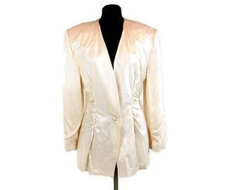 1980s white blazer, ivory jacket, fitted jacket, collarless blazer, Size 10