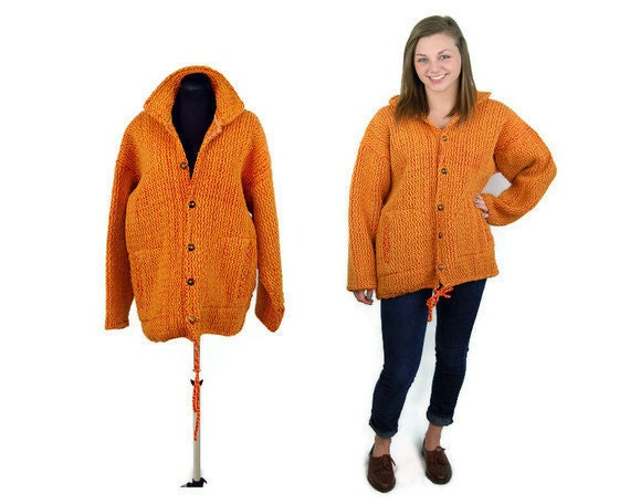 Vintage Alpaca sweater - wool sweater coat - orange hand knit sweater - Made in Ecuador - Ethnic - Size L