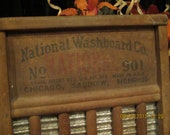 VIntage Rustic Primitive White Wood and TIn Washboard by National Washboard Co- Family Size
