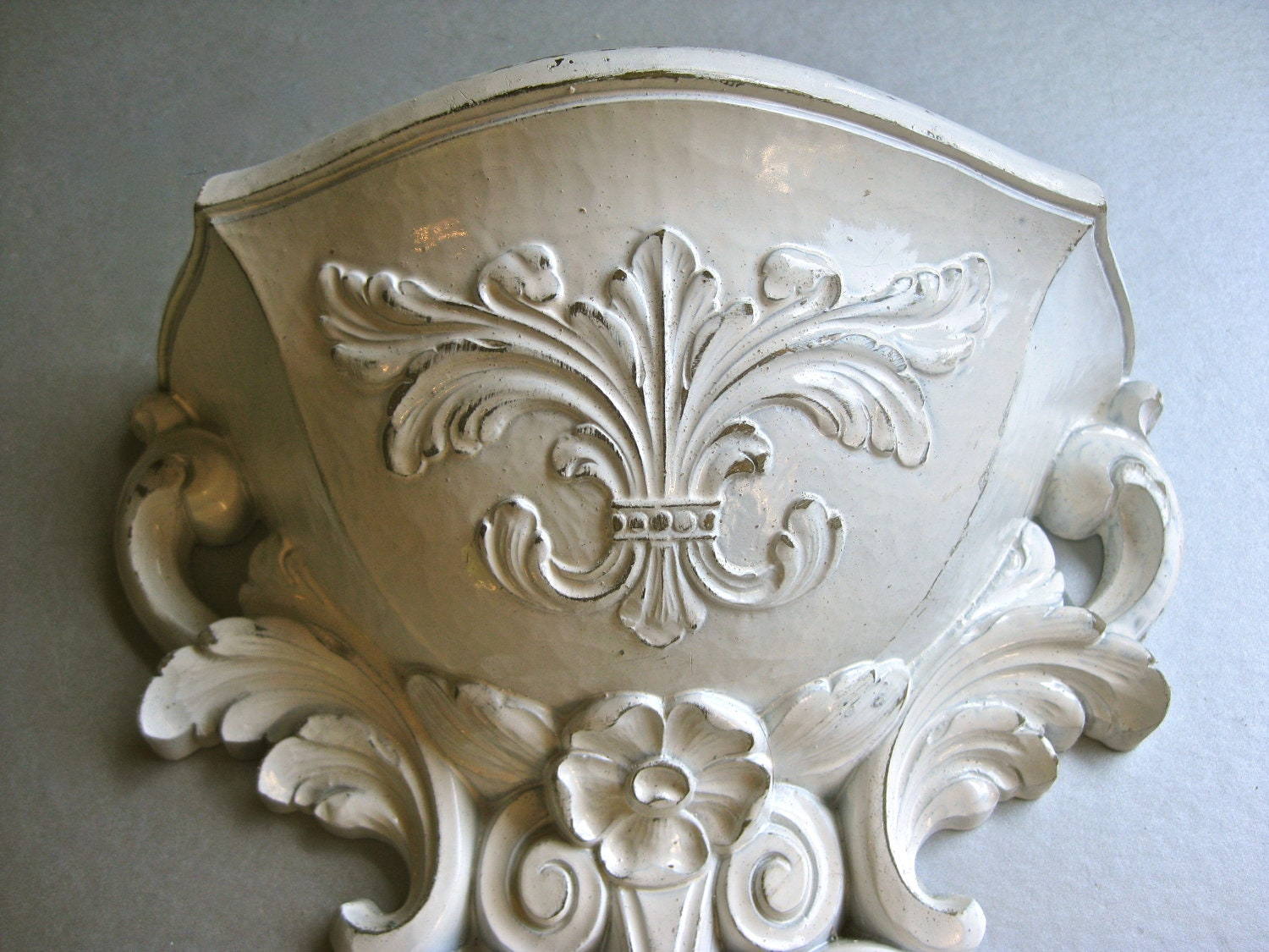 Vintage Wall Pocket Wall Sconce Planter Shabby by ... on Pocket Wall Sconce For Flowers id=13966