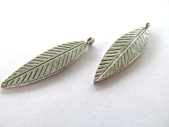 Silver Leaf Charms or Pendants, 8mm x 32mm, 2 pieces