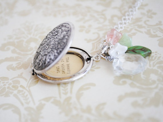 Women's Locket - L.M. Montgomery Quote Locket - The beauty of winter is that it makes you appreciate spring