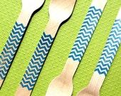Dark Aqua Chevron Wooden Party Forks - Eco-friendly Birthday, Wedding or Shower Forks (set of 36)