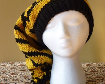 Chunky Hand Knit Slouchy Stocking Hat - Hufflepuff Colors - Harry Potter