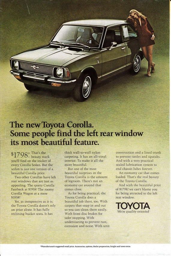 1970 toyota Corolla advertisement with African Safari ad on the reverse