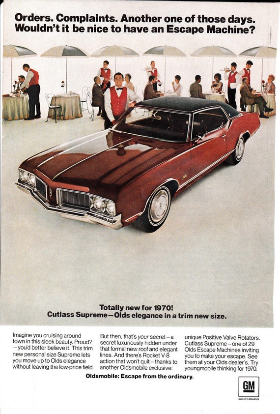 1970 Cutlass Supreme vintage ad advertisement With Hamilton Electronic ad on reverse