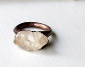Copper Ring Topaz Ring Clear Raw Crystal Organic Raw Artisan Handmade