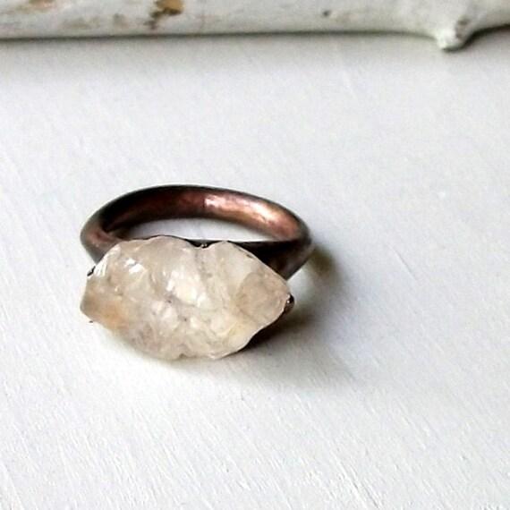 Copper Ring Topaz Ring Clear Raw Crystal Organic Raw Artisan Handmade