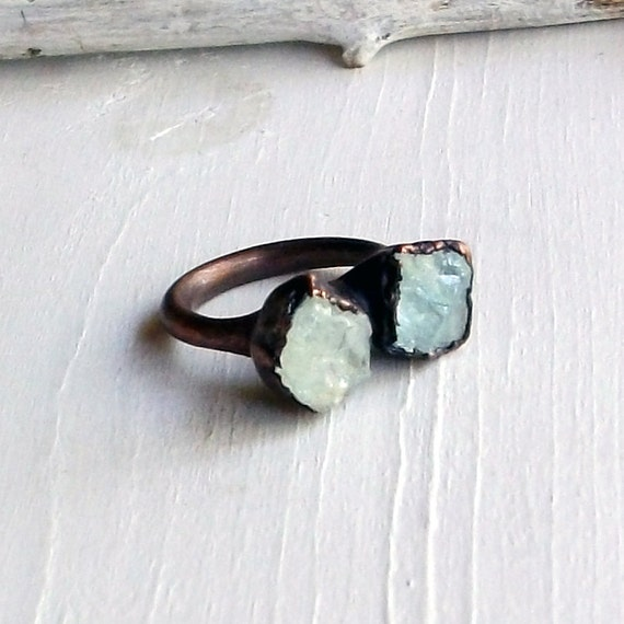 RESERVED Copper Aquamarine Ring March Birthstone Pale Green Blue Artisan Handmade