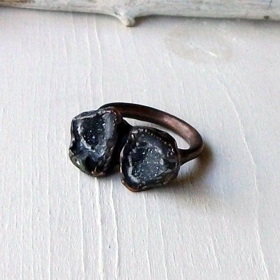 Ring Druzy Copper Geode Agate Gem Stone Black Ebony Charcoal White Handmade Artisan