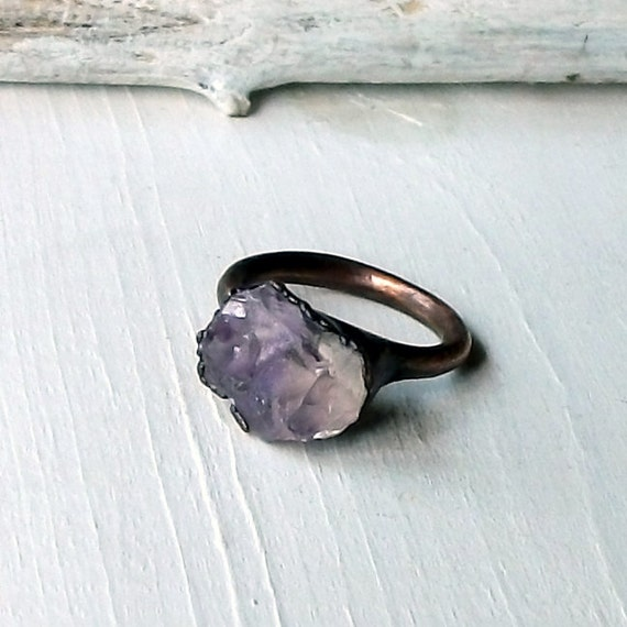 Copper Ring Amethyst Pale Grey Lavendar Gemstone February Birthstone Artisan Handmade