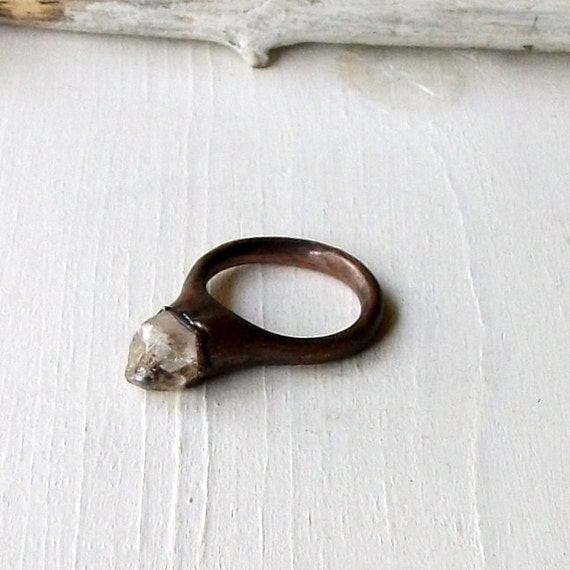 Copper Ring Raw Quartz Crystal Ice Natural Gem Stone Patina Artisan Handmade