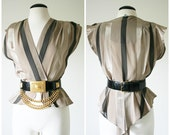 vintage 80s CHAMPAGNE stripe sheer TUXEDO tail shirt size S