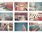 Venice Italy photography, set of 9 prints 5x7- italy photography prints art, mask, St Mark, gondola water pink blue