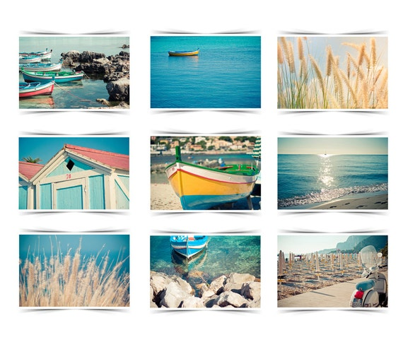 Sicily photo set 9 prints 5x7- italy photography wall art, water pink blue watercolor seascape pastel colours summer beach boats sea yellow