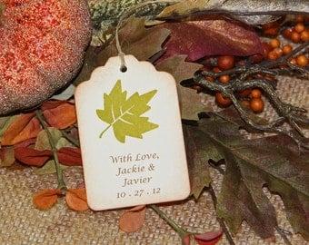 100 Rustic Leaf Wedding Tags, Fall Wedding Tags - Personalized