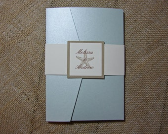 SAMPLE ALYSSA Pocketfold Beach Wedding Invitations - Seashell Wedding Invitation- Aquamarine Shimmer Invitation