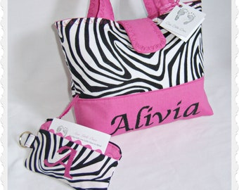 Personalize Zebra Hot Pink Handbag with Monogram Matching Coin Purse-Little Girls Purse