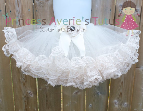 READY TO SHIP 1 to 6 years Ivory Double Lace Trim Tutu & Matching lace hair clip