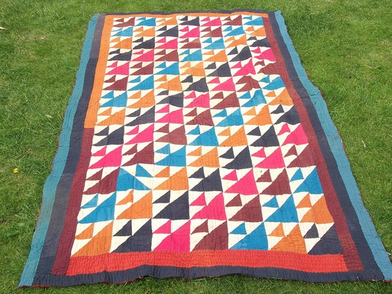 Bright and Colourful Patchwork Ralli Quilt.  Hand made. Reversible.