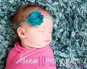 Jade Shabby Chic Fabric Flower Skinny Headband, Baby Girl Props, Newborn Infant Photo Prop