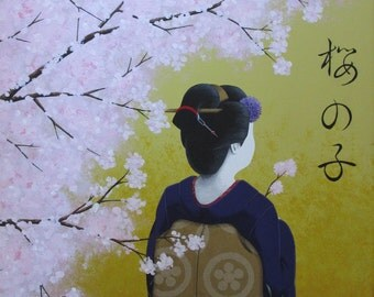Cherry Blossom Girl   16x20 in./40.5x51 cm.   Acrylic