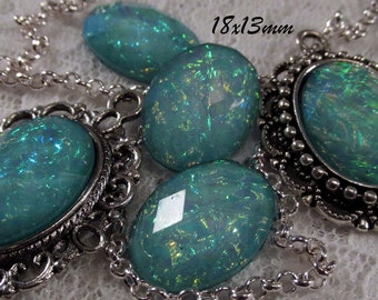 18x13mm - Aqua Opal - Faceted Acrylic Cabochon - 5 pcs : sku 11.24.12.10 - E19