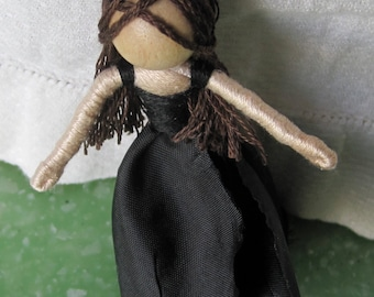 Black Rose Fairy Doll, Anti Valentine Doll, Witch Flower Fairy,  Halloween Doll